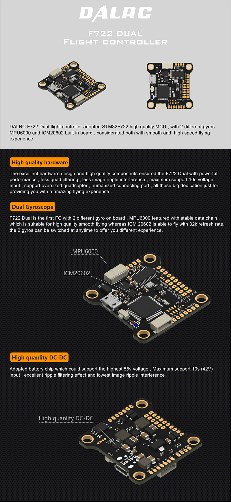 DALRC F722 DUAL F7 Flight Controller for Sale