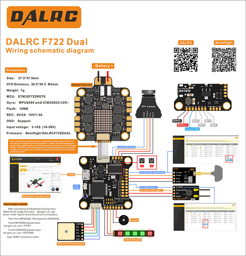 DALRC F722 DUAL F7 Flight Controller MPU6000 and ICM20602 for Sale